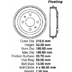 BD 04002P Premium Brake Drum: Rear - Fiat, Yugo