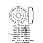 BD 11004P Premium Brake Drum: Rear - Eagle, Renault