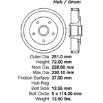 BD 45013 Brake Drum: Rear - Ford, Mazda