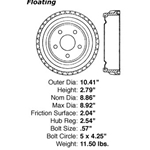 BD 61031 Brake Drum: Rear - Ford, Mercury