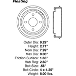 BD 61032P Premium Brake Drum: Rear - Ford, Mercury