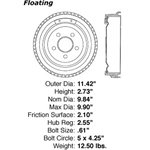 BD 61035 Brake Drum: Rear - Ford, Mercury