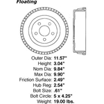 BD 61038 Brake Drum: Rear - Ford Van