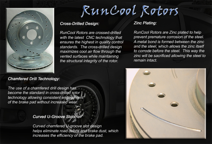 RunCool Cross-Drilled & Slotted Street Performance Rotors